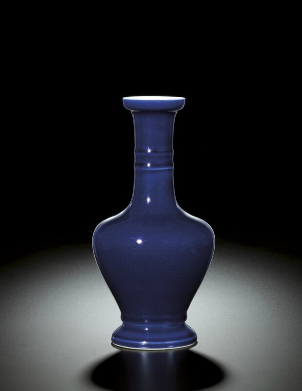 A fine blue glazed bottle vase, Mark and Period of Yongzheng (1723-1735)
