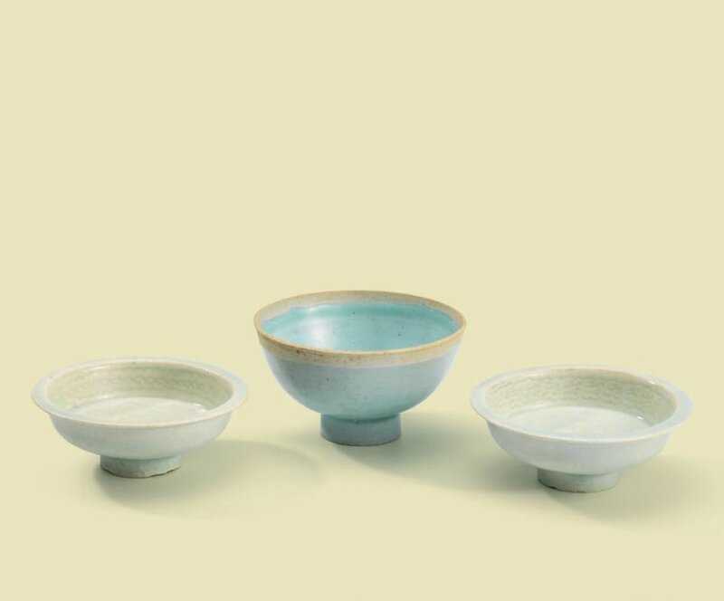 A pair of small Qingbai incised dishes and a Qingbai cup, Song dynasty (960-1279)