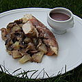 Roules de blancs de poulet en robe de jambon sauce chasseur