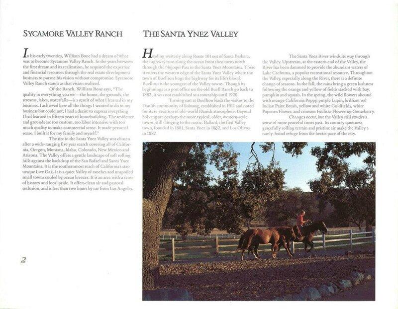 Neverland: Partie 2: Brochure de vente du Sycamore Ranch en 1987