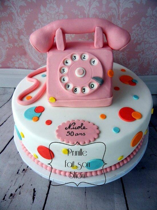 gateau téléphone rose ancien prunillefee 2