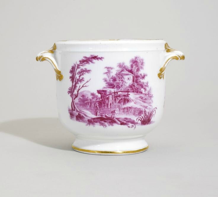 A Vincennes glass cooler, circa 1756