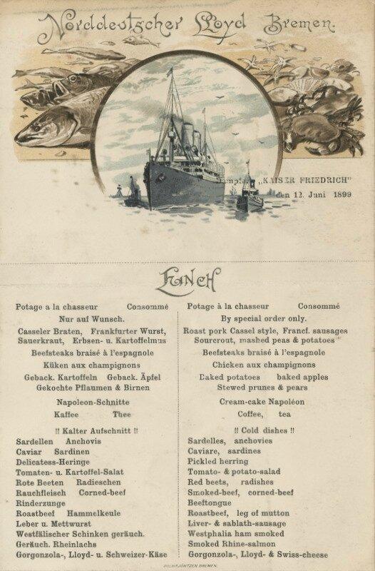 Menu du 12/06/1899, dernière traversée Est-Ouest pour la NDL - Menu from June 12, 1899, last Westbound crossing for NDL.