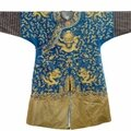 A blue-ground gold-thread silk dragon robe, china, 19th century