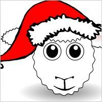 funny_sheep_face_white_cartoon_with_santa_claus_hat_54362