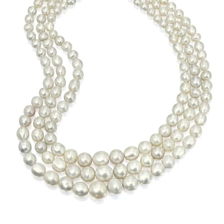 Natural Pearl, Sapphire and Diamond Necklace