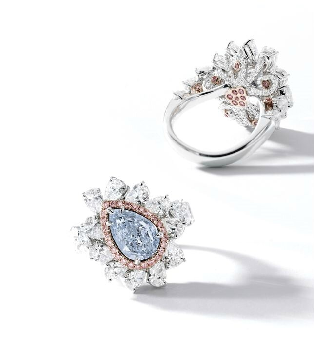Fine Fancy Intense Blue Diamond, Pink Diamond and Diamond Ring