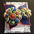 ♥ isaure ♥ broche textile bohème fleurs potirons feuilles bleu roi rouge - les yoyos de calie