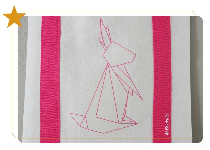 20140417 Tote bag lapin origami rose 2