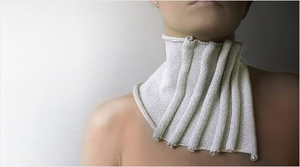 White knitted okapi scarf, spring fashion collection