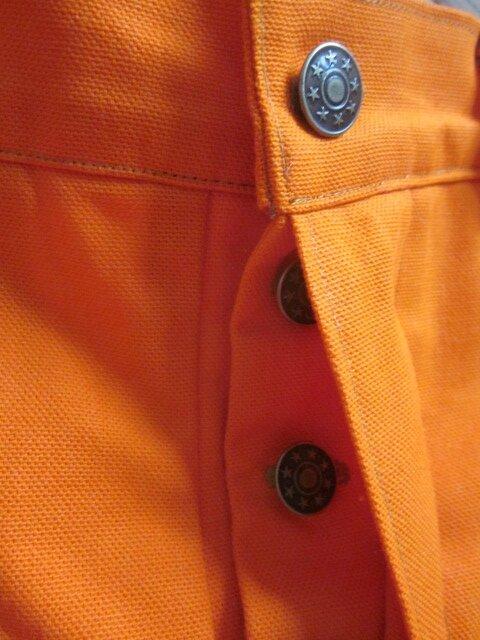 Jeans slim HOMME en toile de coton orange - 4 poches - braguette à boutons (4)