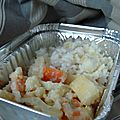 Légumes du potager et petits poissons en sauce citronnée