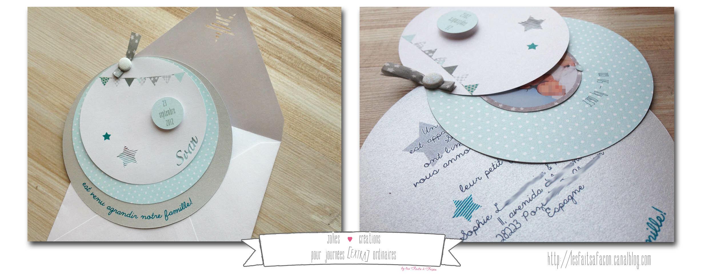 Assez Faire-part rond étoile et liberty - Jolies créations, le blog des  GV84