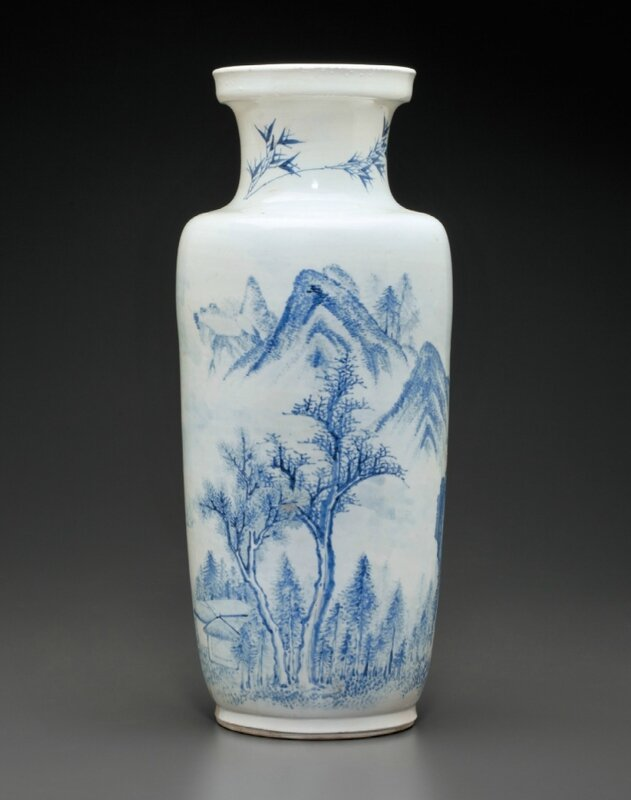 A rare blue and white rouleau vase, Kangxi period, 17th century