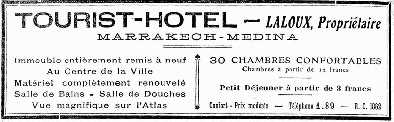 Professions Marrakech 1928-Tourist hotel3
