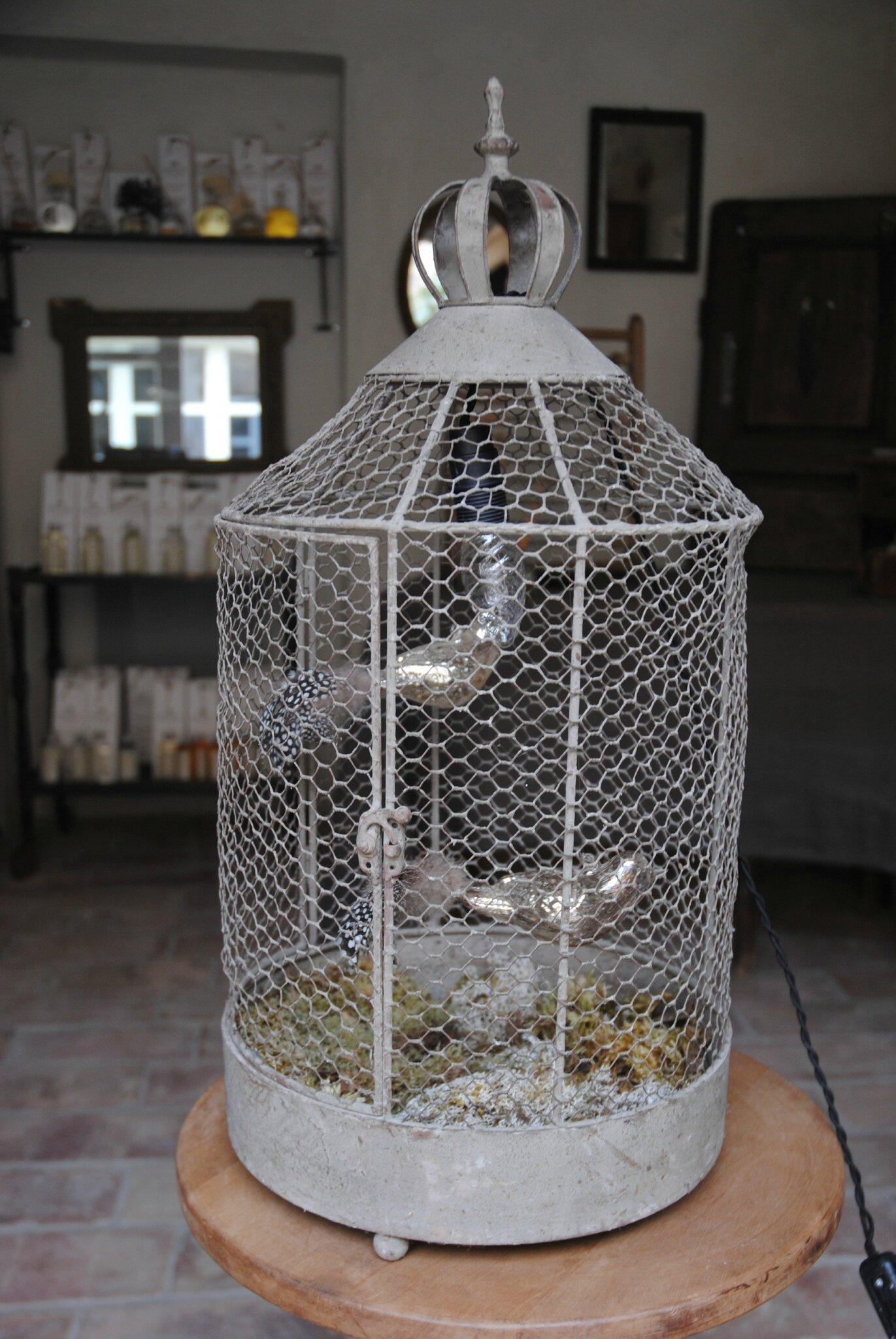 Lampe cage à oiseau à poser ou à suspendre avec oiseau suspendu ...