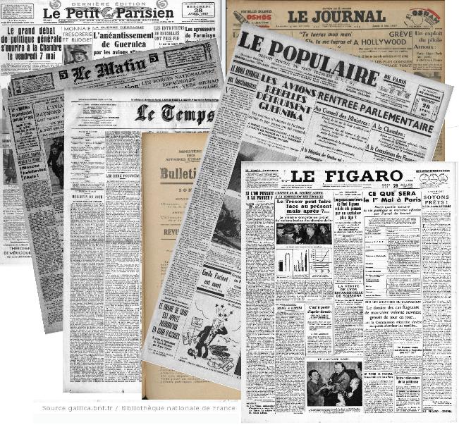 Place du bombardement de Guernica dans la presse