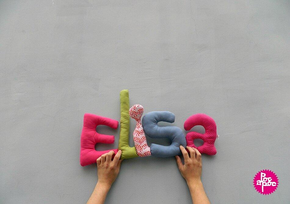 elisa,mot en tissu,mot decoratif,cadeau de naissance,decoration chambre d'enfant,cadeau personnalise,cadeau original,poc a poc blog