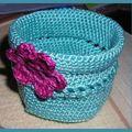 crochet pot turquoise