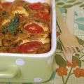 Clafoutis tomates-cerise, chèvre et basilic