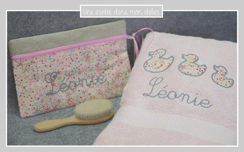 coffret naissance-personnalisé-serviette de toilette-trousse-Liberty adelajda pink and gold