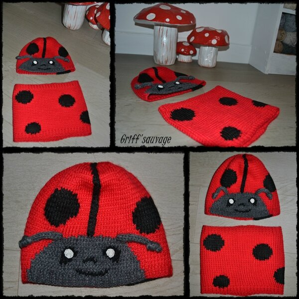 bonnet et snood coccinelle