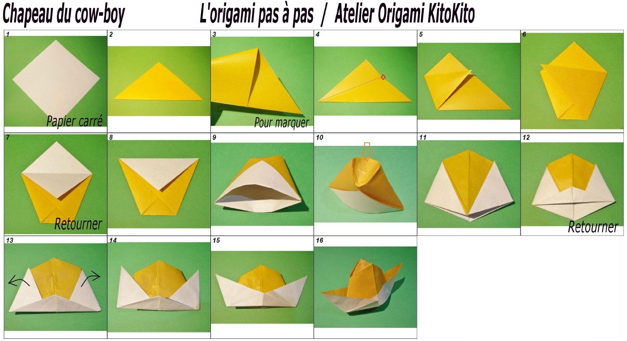 Carnaval chapeau du cow boy l 39 origami pas pas atelier origami - Pliage chapeau papier ...