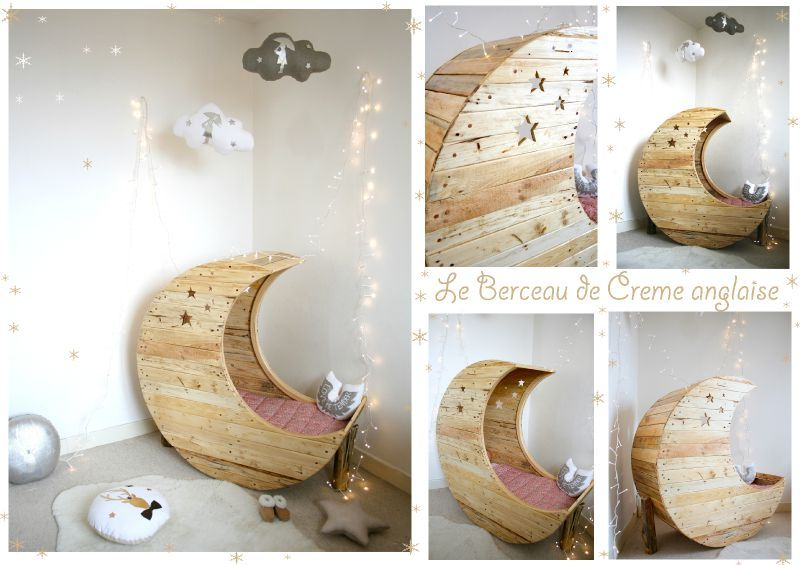 le berceau lune en bois de palette recycl cr me anglaise creme anglaise. Black Bedroom Furniture Sets. Home Design Ideas
