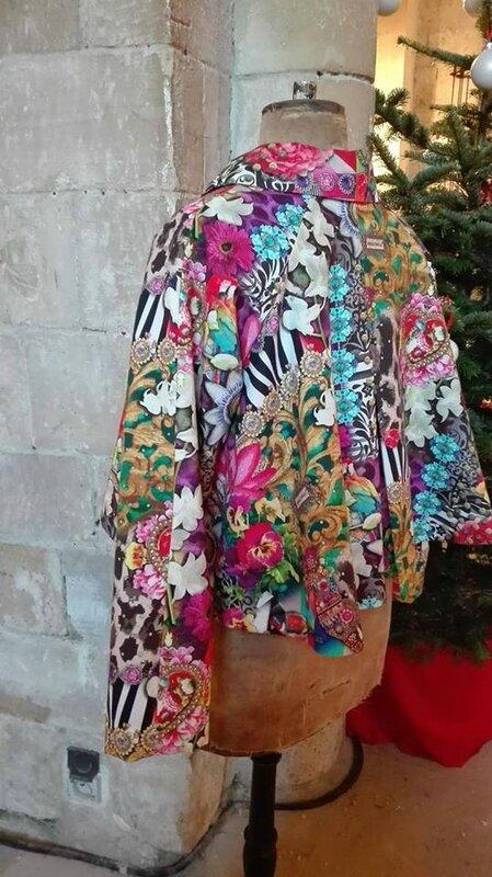 Veste VICTORINE en toile de coton imprimée zèbre-léopard-rose-violet - Doublure de satin noire (15)