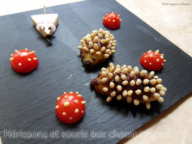 hérissons et souris aux champignons