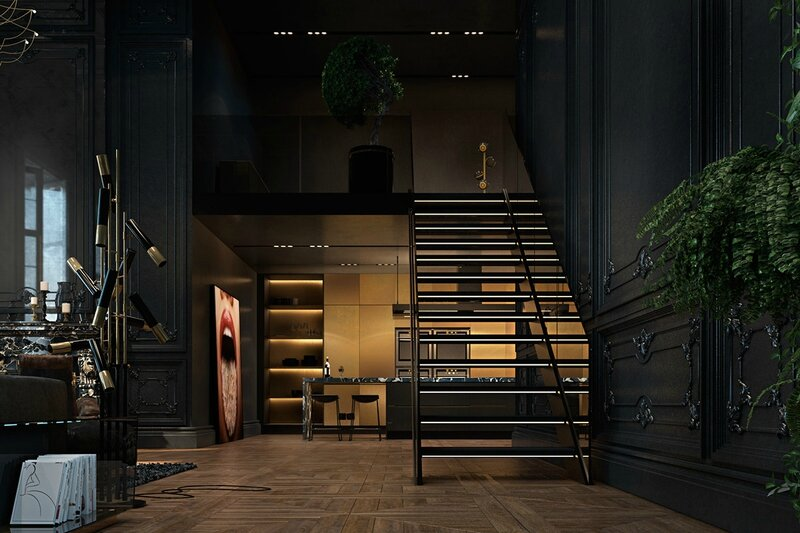 Amber-lit-staircase-iron-ore-living-luscious-green-panel-dim-lighting