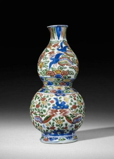 A good wucai double-gourd wall vase, mark and period of Wanli
