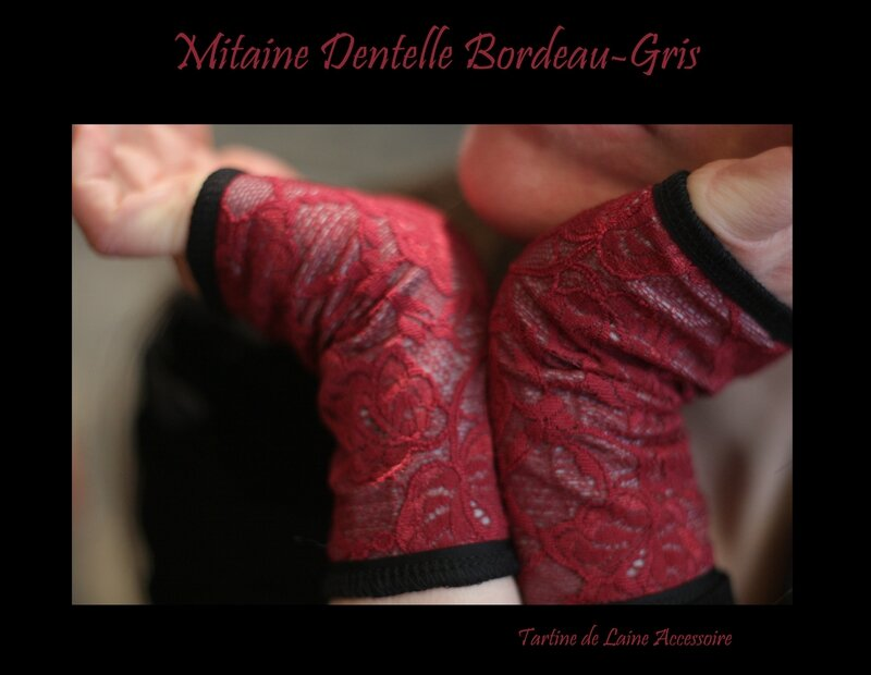 Mitaine Dentelle Bordeau Gris
