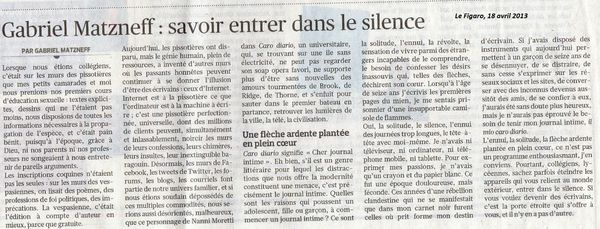 Article Matzneff Figaro 18 avril 2013