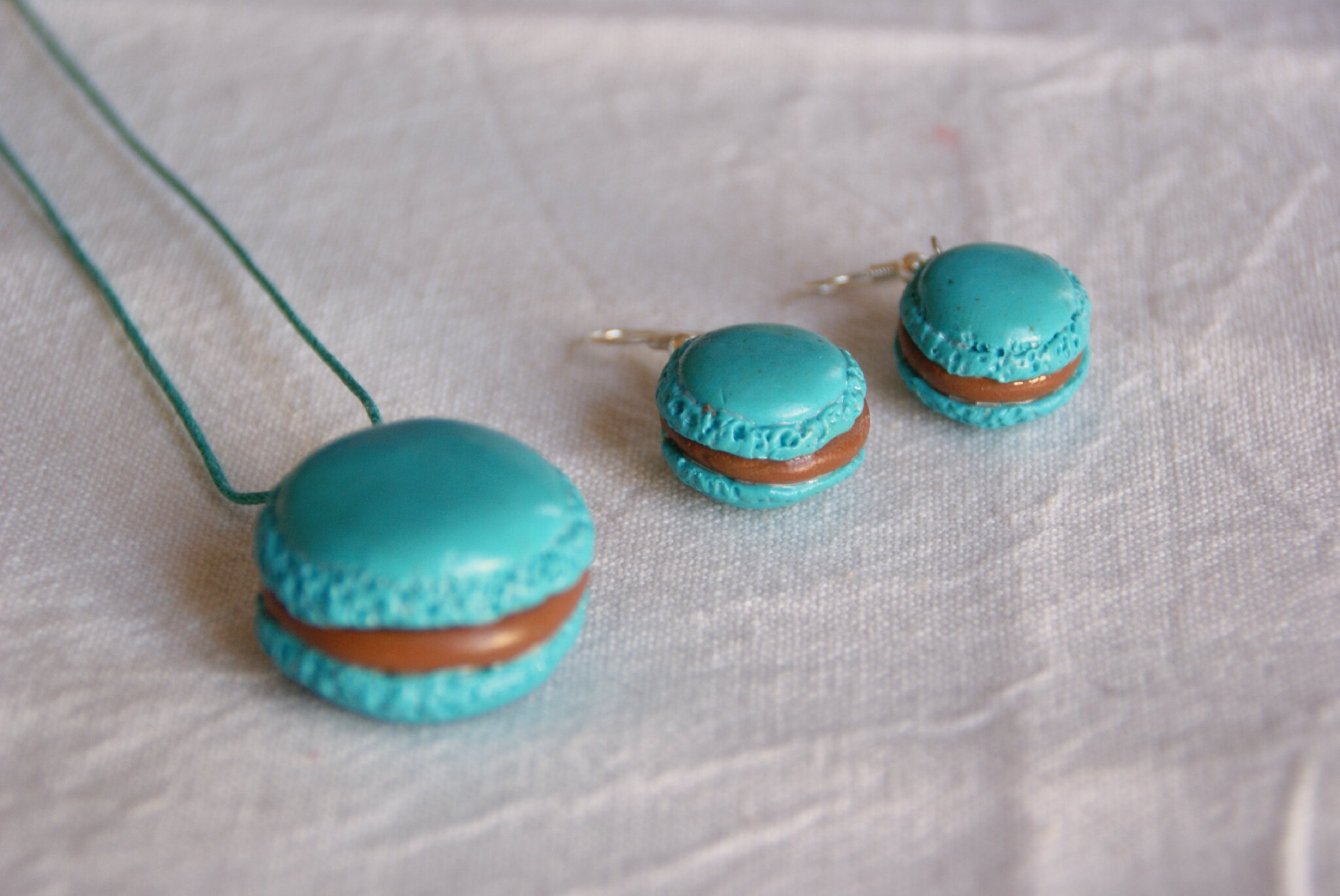 Parure macarons turquoise