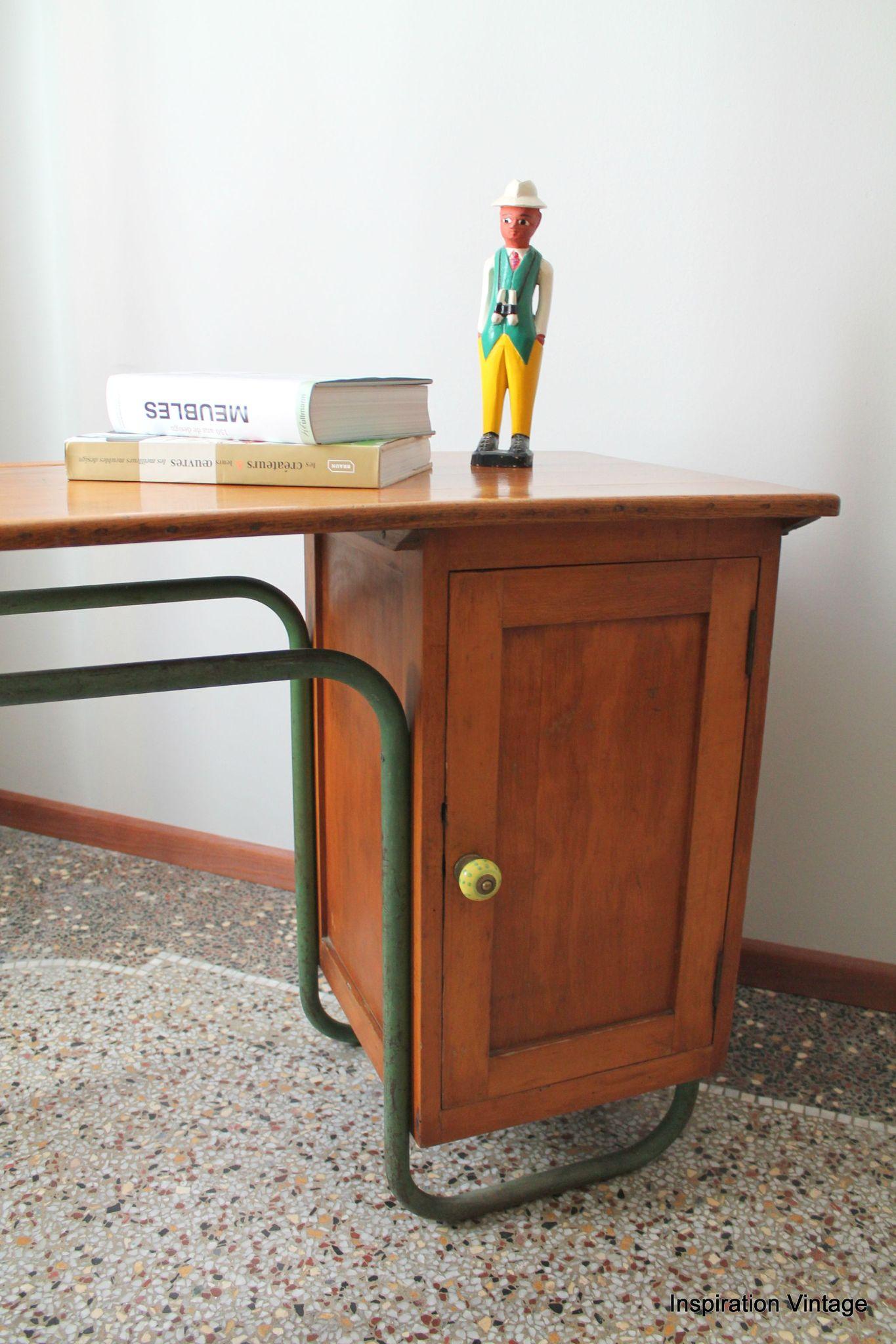 bureau colier bois m tal inspiration vintage. Black Bedroom Furniture Sets. Home Design Ideas