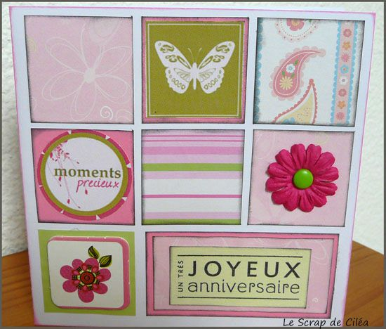 Carte anniversaire color blocking