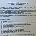 Ordre du jour du conseil municipal du 29 mai 2015