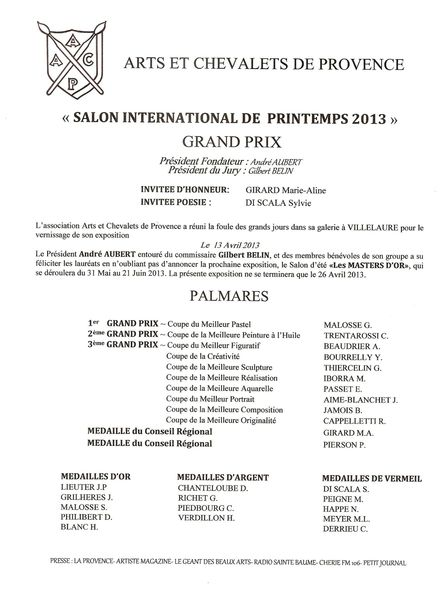 palmarèsprintemps2013