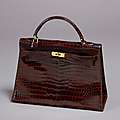 Hermès paris. sac kelly, 33 cm, en crocodile brun