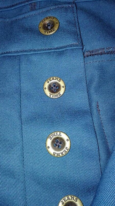Jeans 4 poches en gabardine bleu pétrole - braguette à boutons (3)