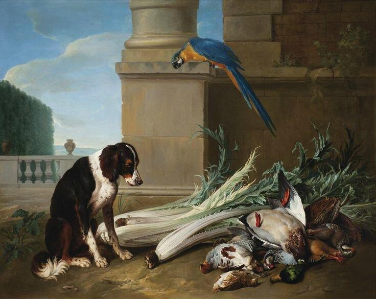 François Desportes (Champigneulle 1661 - 1743 Paris), Chien devant un trophée de chasse