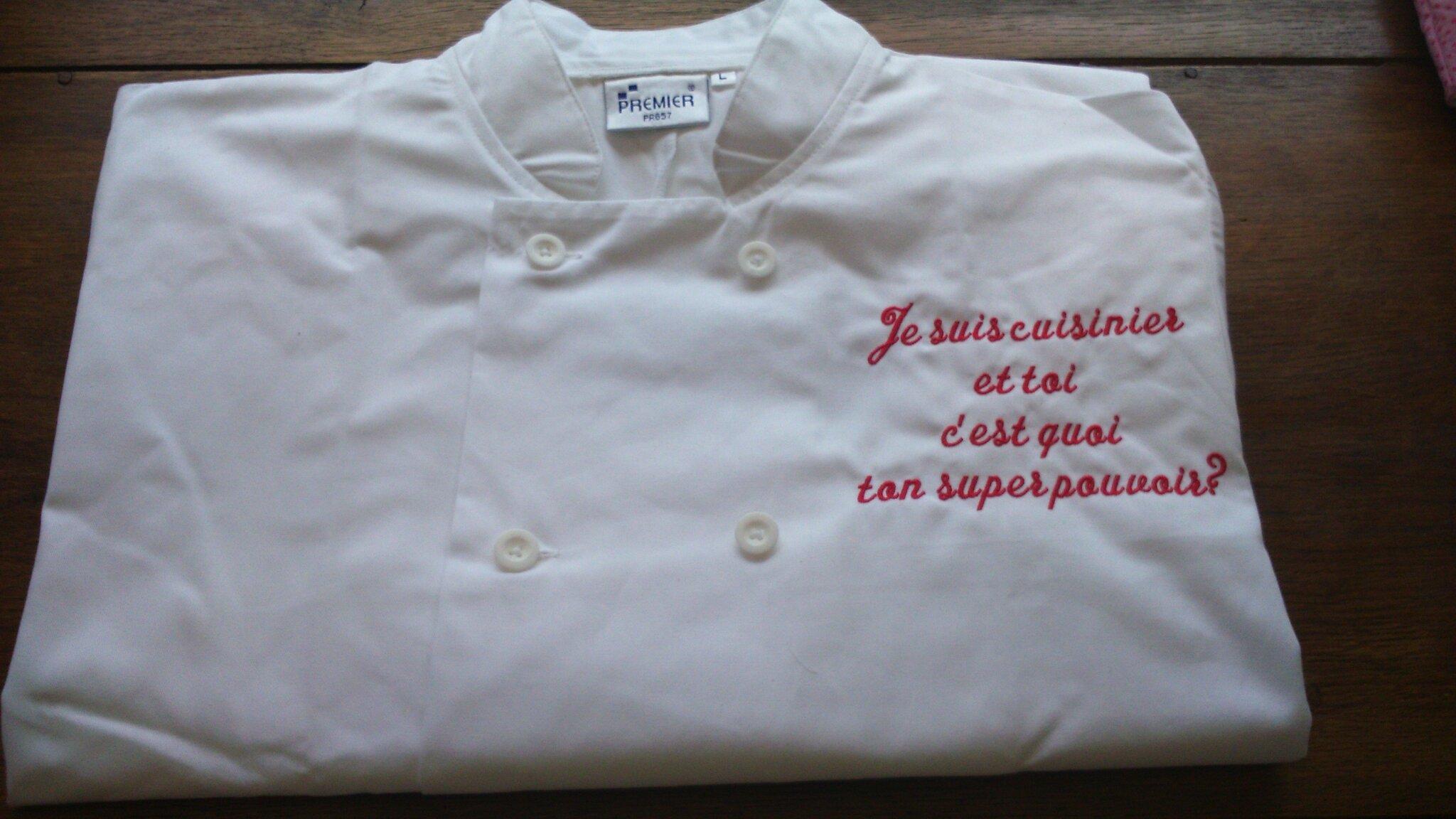 un message très personnel brodé sur une veste de cuisine, commande ... - Broderie Veste De Cuisine