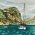 Série d'aquarelle paysage et nature