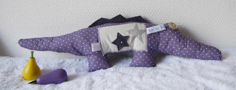 Brodi Broda-cadeau personnalisé bébé-doudou crocodile étoile pois violet-tissu bio