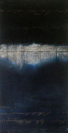 dans la nuit des temps 2011 acryl sur bois 80x40