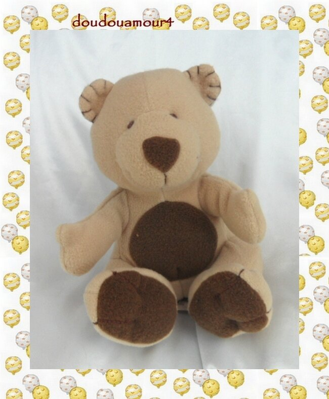 Doudou Peluche Ours Assis Beige Marron Polaire 1999 Happy Horse