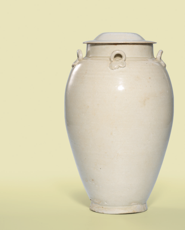 A white-glazed handled jar and cover, Song dynasty (960-1279)