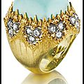Buccellati turquoise and diamond ring in gold