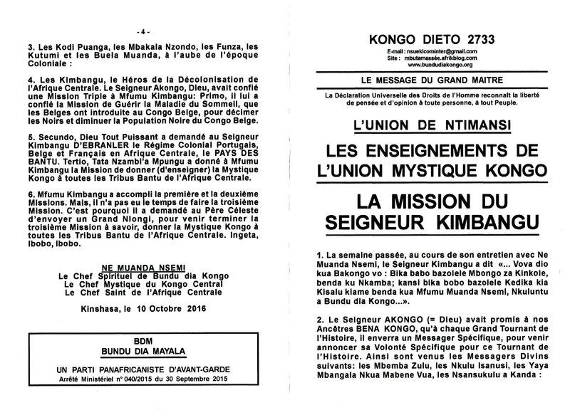 LA MISSION DU SEIGNEUR KIMBANGU a